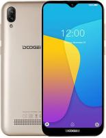 "Смартфон Doogee Doogee X90 Gold, 6.1'' 19:9 600x1280, 1.3GHz, 4 Core, 1GB RAM, 16GB, up to 128GB flash, 5Mpix+8Mpix/5Mpix, 2 Sim, 2G, 3G, BT, Wi-Fi, GPS, Micro-USB, 3400mAh, Android 9.0 (Pie), 150g, 153.9x72.8x9.9, ""Waterdrop"" Screen, Face Unlo"