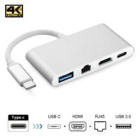 Кабель-адаптер ORIENT C033, USB3.1 Type-C (DisplayPort Alt mode) -> HDMI+GLAN+USB3.0+PD(Type-C), 4K@30Hz, 0.15 метра, серебристый (31091)